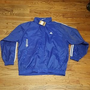 ADIDAS Lightweight Jacket Blue 2XL With Hood